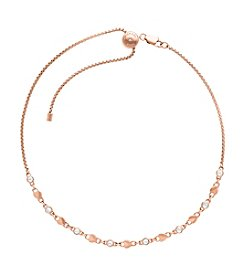 Michael Kors Rose Goldtone Clear Heart Necklace