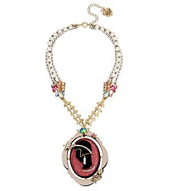 Betsey Johnson Pink Goldtone Cameo Pendant Necklace