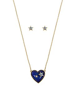 Betsey Johnson Heart Mood Necklace And Earring Set