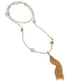 Betsey Johnson Goldtone Star Moon Tassel Necklace