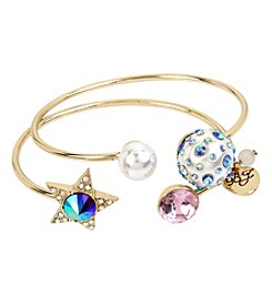 Betsey Johnson Goldtone Star Bangle Bracelet Set
