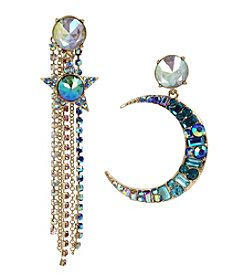 Betsey Johnson Goldtone Moon Star Tassel Earrings