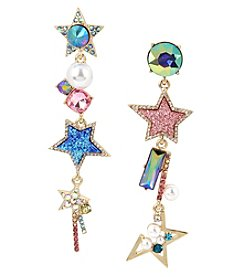 Betsey Johnson Goldtone Star Linear Earrings