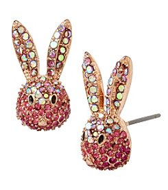 Betsey Johnson Rose Goldtone Bunny Stud Earrings