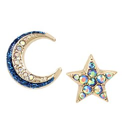 Betsey Johnson Goldtone Moon And Star Stud Earrings