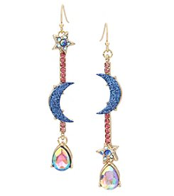 Betsey Johnson Goldtone Multi Moon Linear Earrings