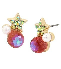 Betsey Johnson Goldtone Star Cluster Earrings