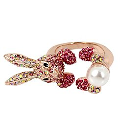 Betsey Johnson Rose Goldtone Bunny Ring