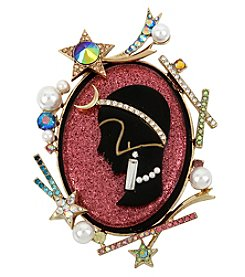 Betsey Johnson Goldtone Pink Cameo Pin