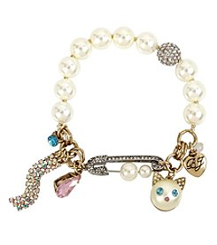 Betsey Johnson Goldtone Cat Charm Bracelet