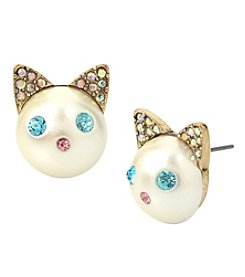 Betsey Johnson Goldtone Cat Stud Earrings
