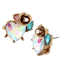 Betsey Johnson Goldtone Heart Cluster Stud Earrings