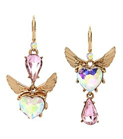 Betsey Johnson Goldtone Heart Drop Earrings