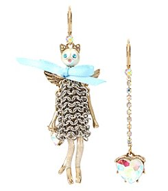 Betsey Johnson Goldtone Cat Doll Earrings