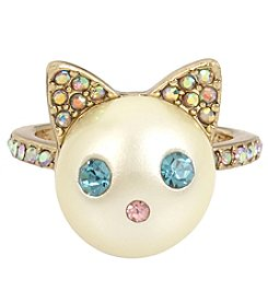 Betsey Johnson Goldtone Faux Pearl Cat Ring