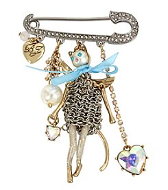 Betsey Johnson Cat Doll Pin