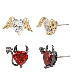 Betsey Johnson Cubic Zirconia Heart Stud Earrings
