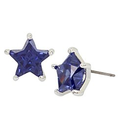 Betsey Johnson Silvertone Cubic Zirconia Star Stud Earrings