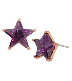 Betsey Johnson Rose Goldtone Cubic Zirconia Star Stud Earrings