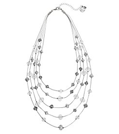 Erica Lyons Silvertone Illusion Crystal Necklace