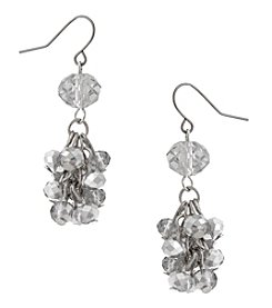 Erica Lyons Silvertone Cluster Drop Earrings