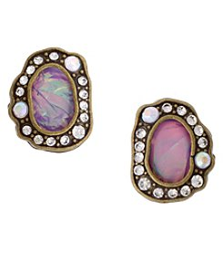 Erica Lyons Goldtone Button Earrings