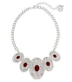 Erica Lyons Silvertone Red Multi Oval Necklace