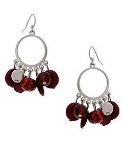 Erica Lyons Silvertone Red Drop Earrings