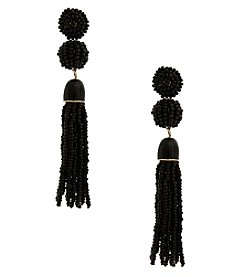 Erica Lyons Jet Black Tassel Post Earrings