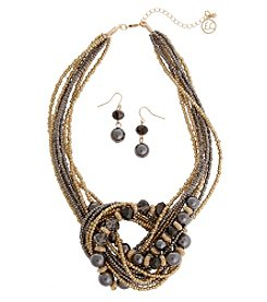 Erica Lyons Earthtone Knot Necklace And Earring Set