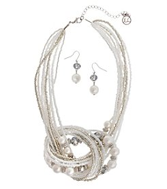 Erica Lyons White Knot Necklace And Earring Set