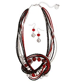 Erica Lyons Red Knot Necklace And Earring Set