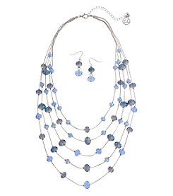 Erica Lyons Blue Crystal Illusion Necklace And Earring Set