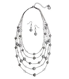 Erica Lyons Gray Crystal Illusion Necklace And Earring Set