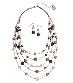 Erica Lyons Chocolate Illusion Necklace And Earrings Set