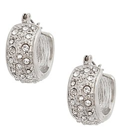 Erica Lyons Silvertone Small Hoop Earrings