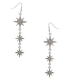 Erica Lyons Silvertone Triple Drop Star Earrings