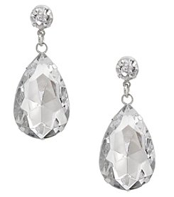 Erica Lyons Silvertone Teardrop Post Earrings