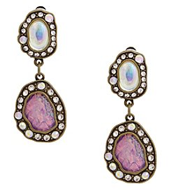 Erica Lyons Goldtone Double Drop Clip Earrings
