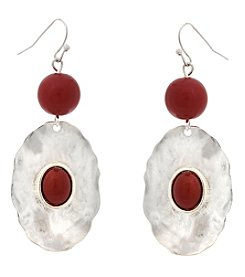Erica Lyons Silvertone Red Oval Drop Earrings