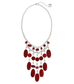 Erica Lyons Red Silvertone Short Fringe Necklace