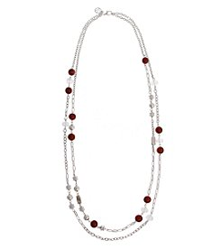 Erica Lyons Red Double Row Necklace