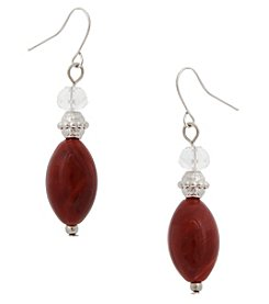 Erica Lyons Red Double Drop Earrings