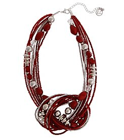 Erica Lyons Red Silvertone Short Knot Necklace