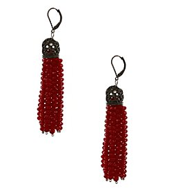Erica Lyons Red Tassel Earrings