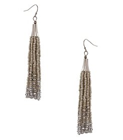 Erica Lyons Silvertone Tassel Earrings