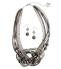 Erica Lyons Gray Knot Necklace And Earring Set