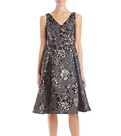 Adrianna Papell Metal Floral Pattern Fit And Flare Dress