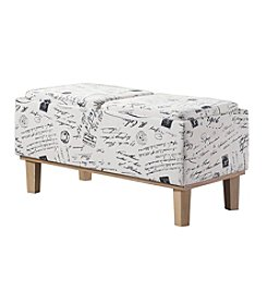 Ore International™ Stencils Letter Pattern Seat Flip Storage Bench