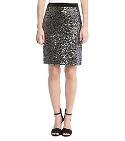Karen Kane Floral Sequin Detail Pencil Skirt